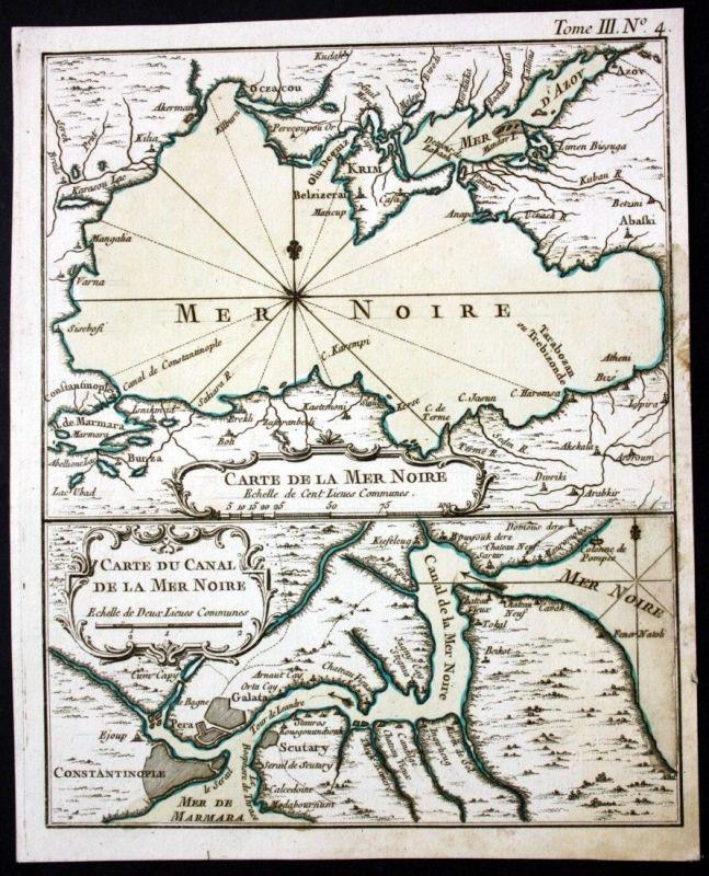 1764 - Black Sea Schwarzes Meer Kupferstich Karte map Bellin Ukraine Krim Crimea