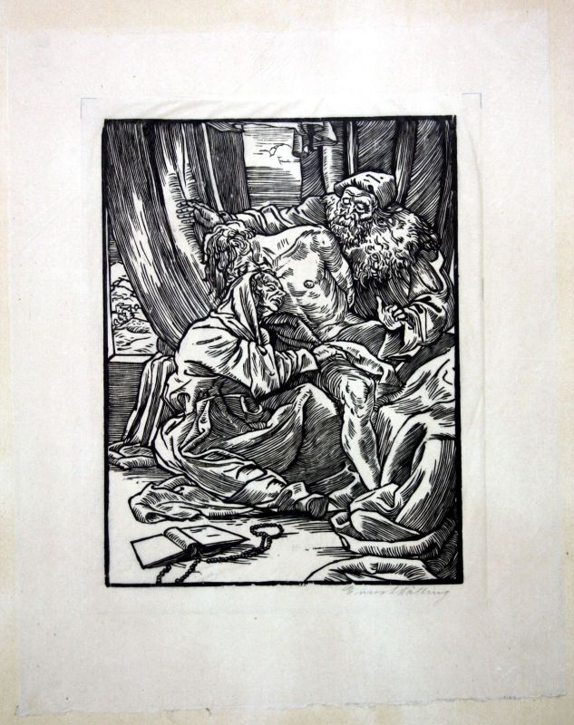 Helsingborg Original Holzschnitt signiert Ernst Dölling