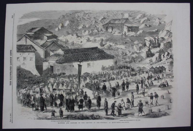 1859 China Hong Kong funeral ritual Beerdigung Holzschnitt antique print