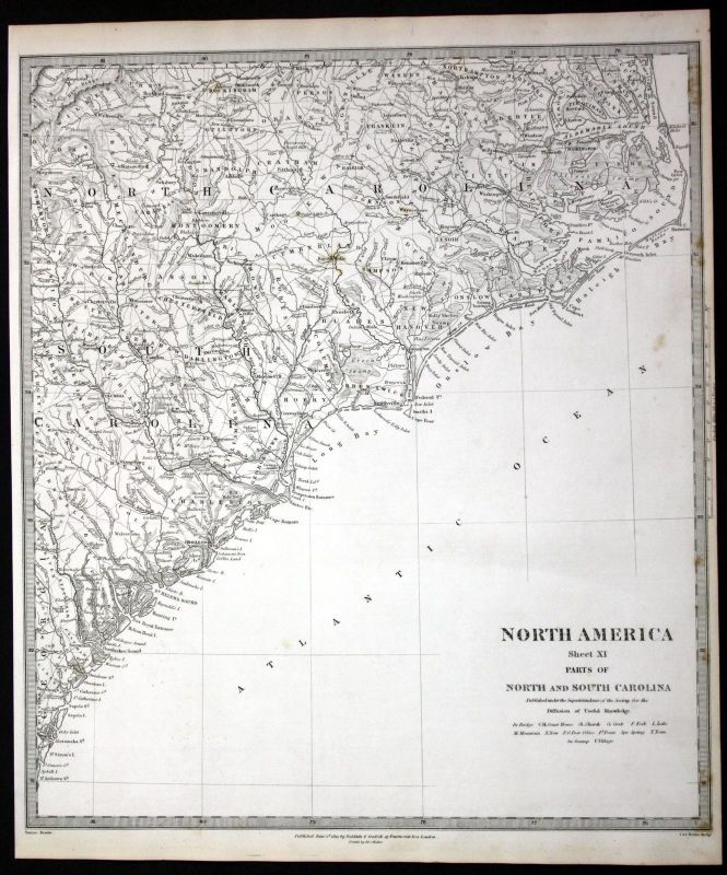 1833 North South Carolina North America engraving map Karte SDUK Nr ...
