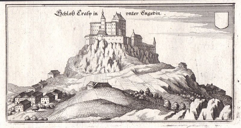1650 Schloss Tarasp Unterengadin Ansicht view Kupferstich antique print Merian