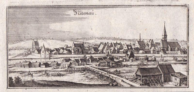 Ca. 1650 Nittenau Schwandorf Ansicht view Kupferstich antique print Merian