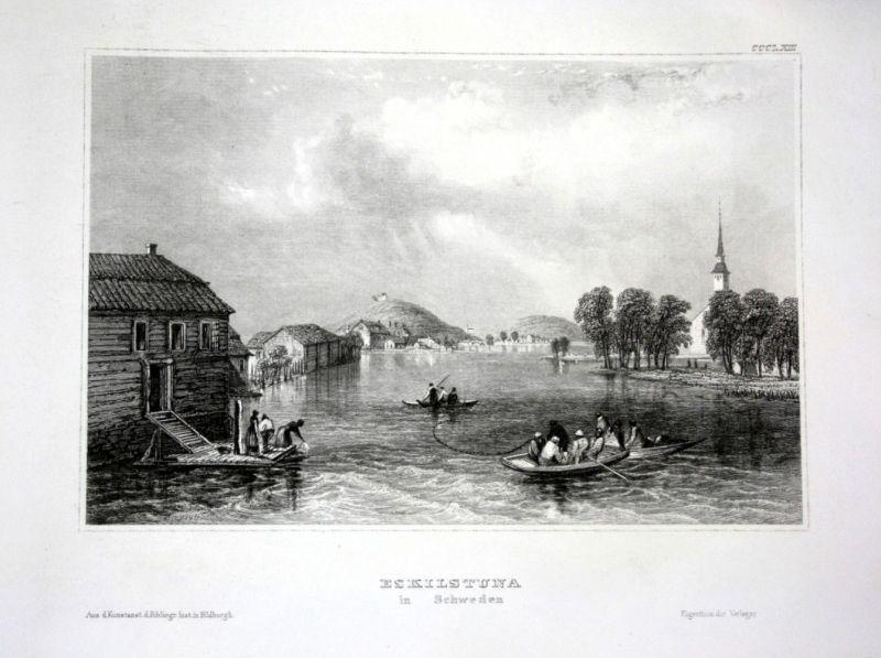 Ca. 1840 Eskilstuna Ansicht view Schweden Sverige Sweden Stahlstich engraving