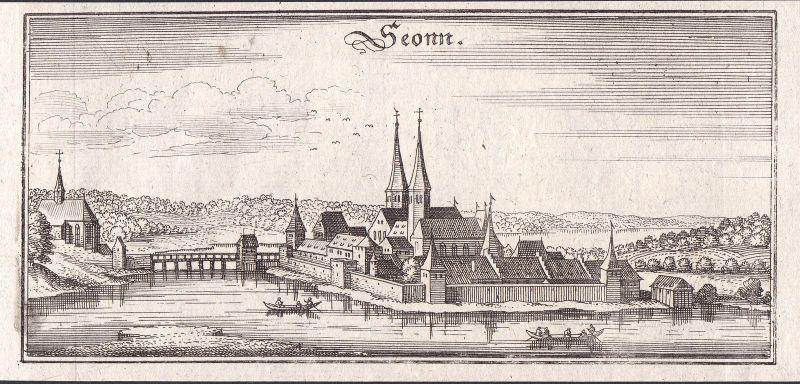1650 Seon Lenzburg Gesamtansicht view Kupferstich gravure antique print Merian