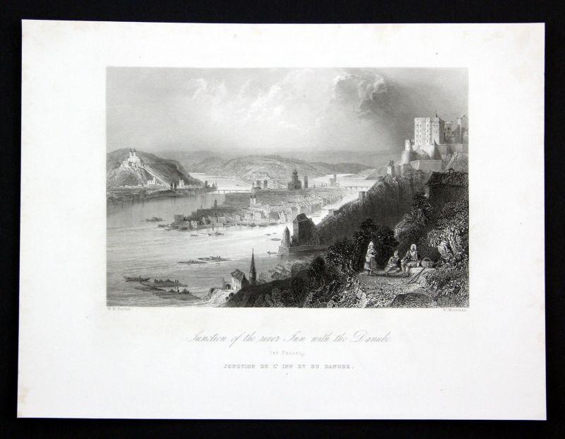 Ca. 1850 Donau Danube Passau Inn Ansicht Stahlstich antique print Mossman