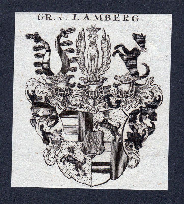 1820 Lamberg Wappen Adel coat of arms heraldry Heraldik Kupferstich engraving