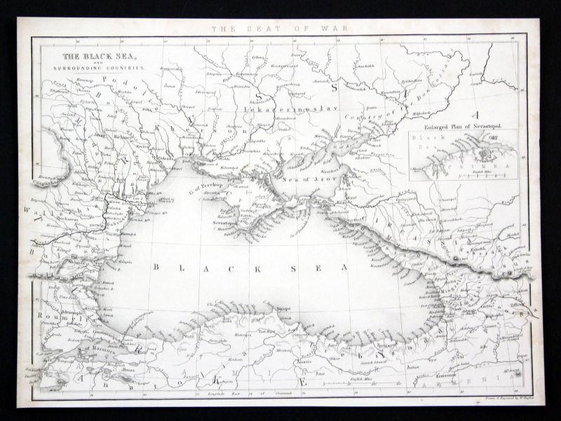 1850 Schwarzes Meer Black Sea Karte map Ansicht Stahlstich antique print Hughes