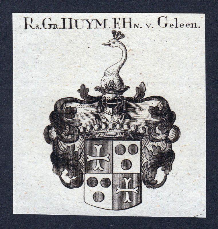 1820 Geleen Huym Niederlande Wappen Adel coat of arms Kupferstich engraving