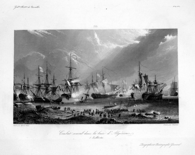 Ca. 1840 Algeciras Cadiz naval battle Schlacht Ansicht Stahlstich antique print