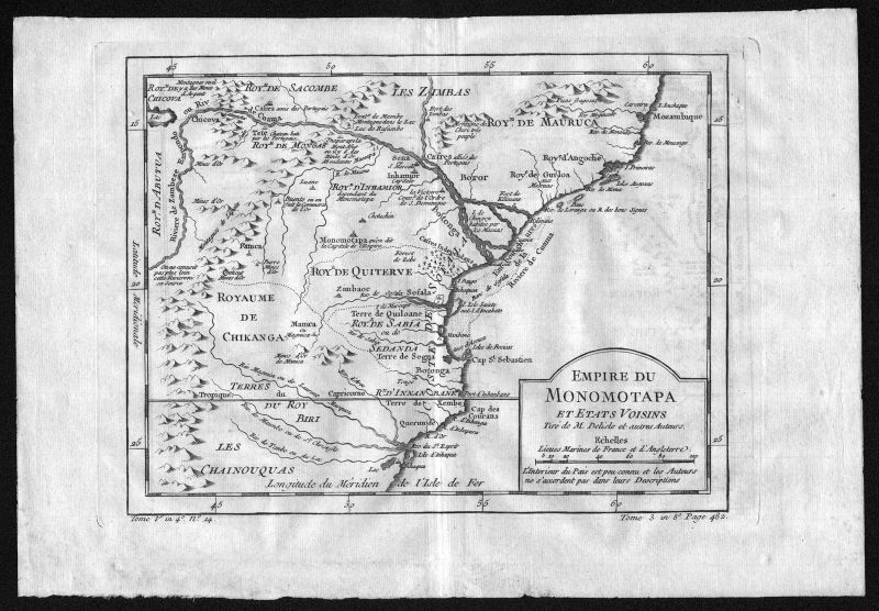 1750 Mosambik Mocambique Africa Afrika map Karte Kupferstich engraving Bellin