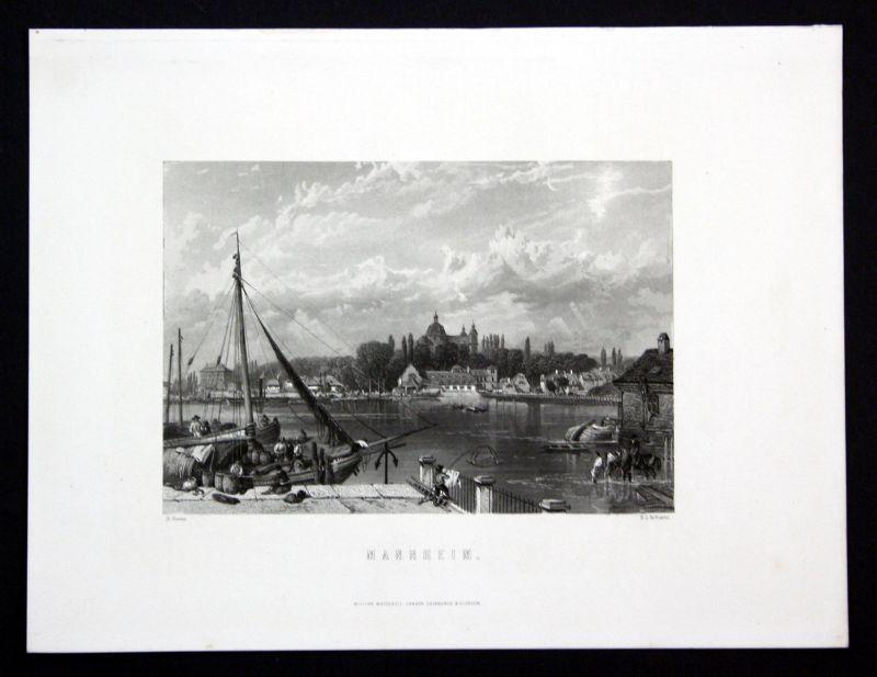 1850 Mannheim Rhein Baden-Württemberg Ansicht Stahlstich antique print Roberts