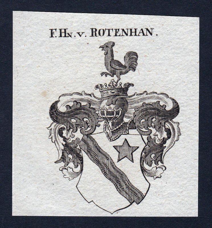 1820 Rotenhan Franken Wappen Adel coat of arms Heraldik Kupferstich engraving