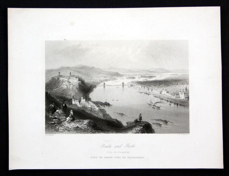 Ca. 1850 Budapest Hungary Ungarn Donau Danube Ansicht Stahlstich antique print