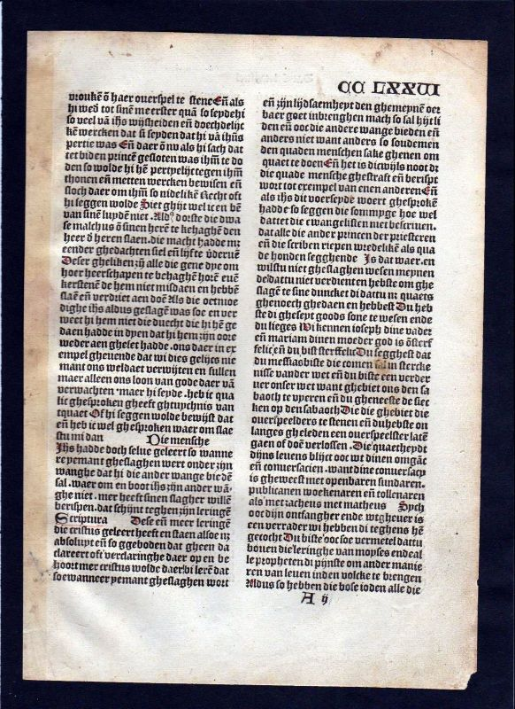 1499 Blatt CCLXXVI Inkunabel Vita Christi Zwolle incunable Dutch Holland