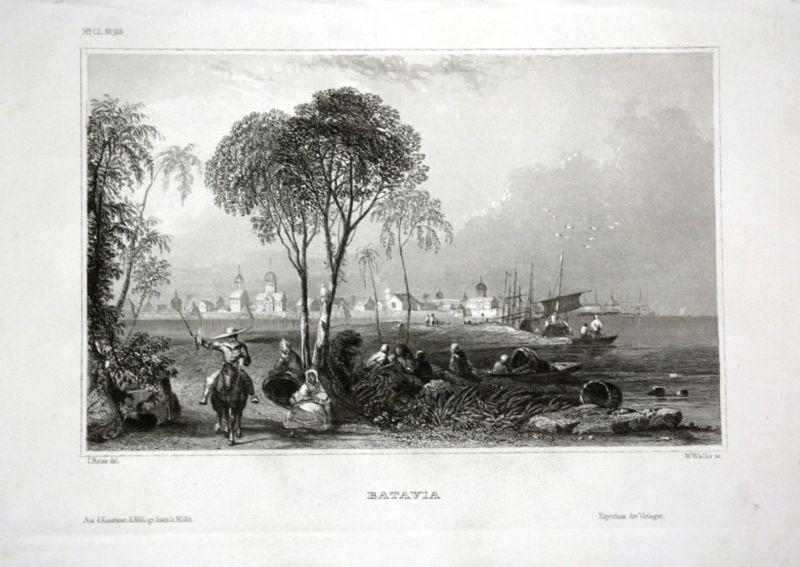 Ca. 1840 Batavia Ansicht view Hafen port Stahlstich engraving
