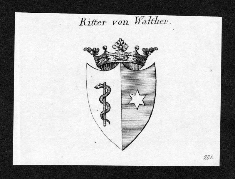 Ca. 1820 Walther Wappen Adel coat of arms Kupferstich antique print heral 140203