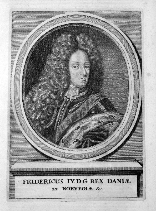 1707 Frederik 4 konge Danmark Norge Potrait Kupferstich antique print Mer 156569