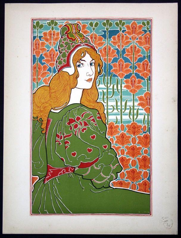 1897 Louis Rhead Art Nouveau Jugendstil Lithographie Poster estampe Moderne