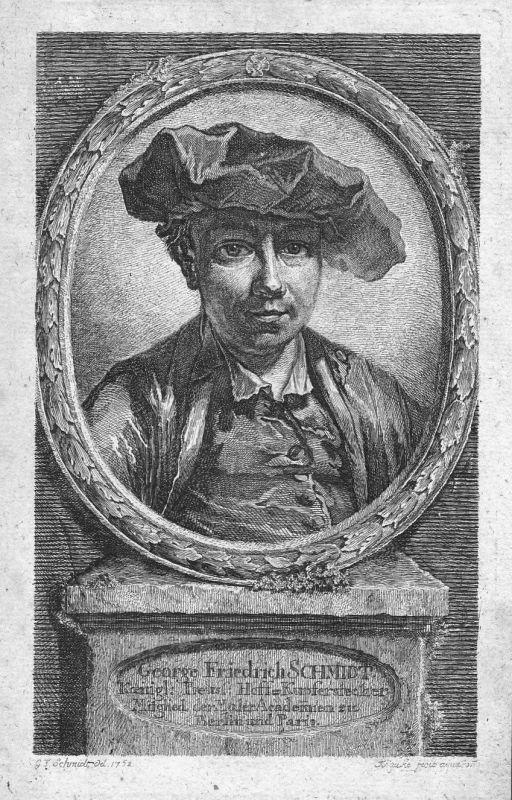 18. Jh. Georg Friedrich Schmidt Selbstportrait Portrait Radierung etching