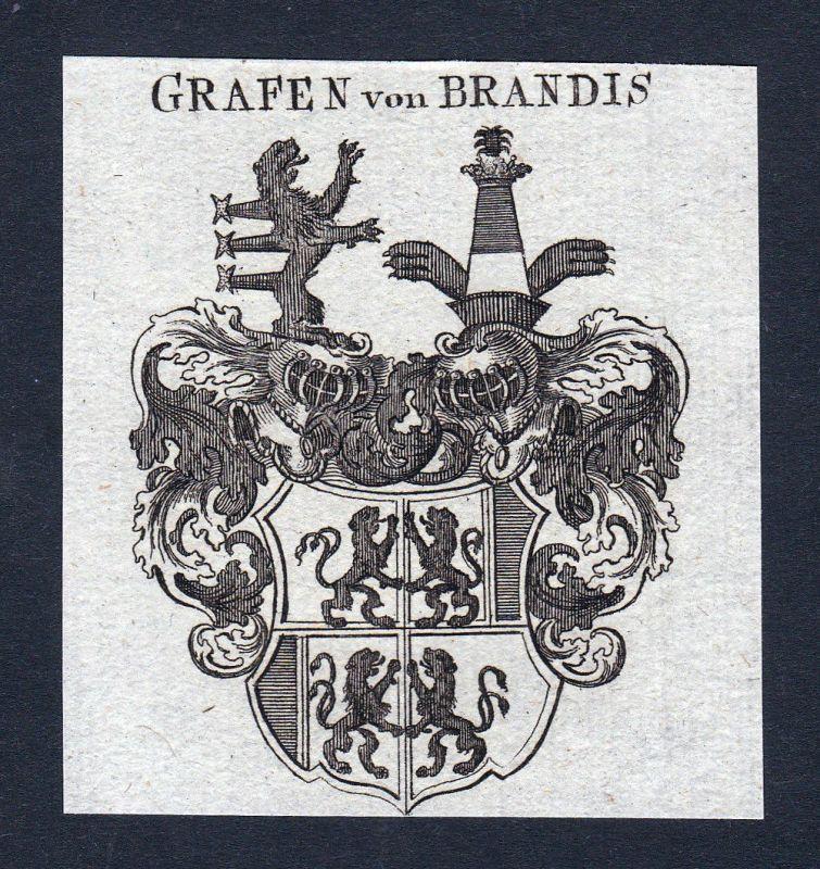 1820 Brandis Schweiz Wappen Adel coat of arms Heraldik Kupferstich engraving