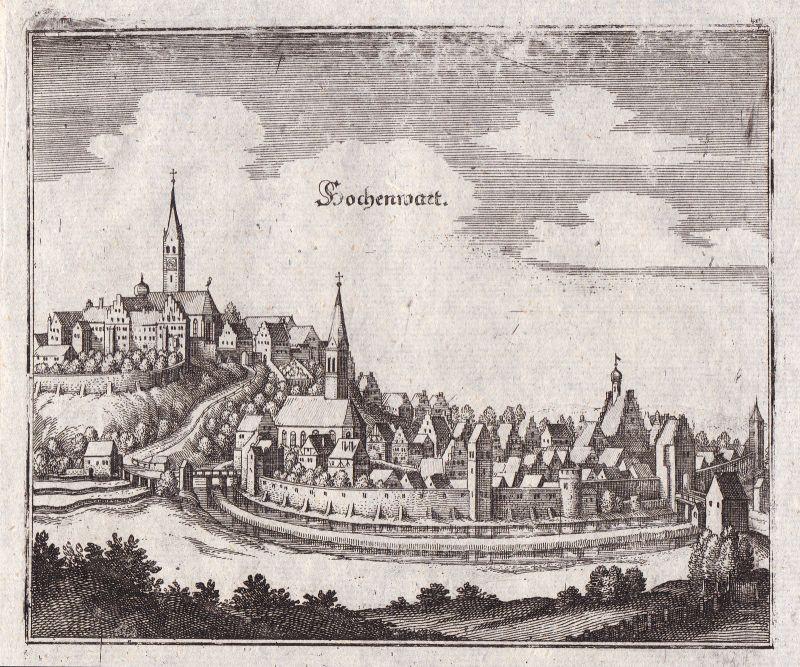 Ca 1650 Hohenwart Pfaffenhofen Ilm Ansicht view Kupferstich antique print Merian