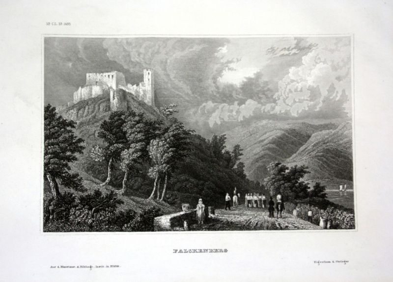 Ca. 1840 Falkenberg Ruine Ansicht view Stahlstich engraving