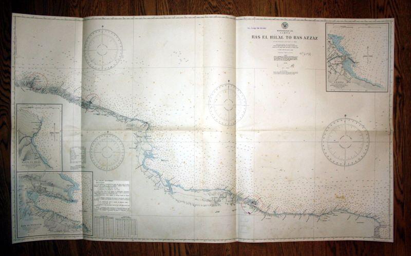 1931 Mediterranean Sea Libya Ras El Hilal Ras Azzaz Libyen Map Karte Plan  130290