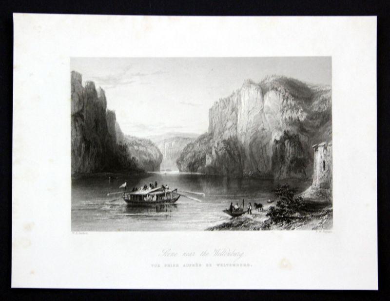 Ca 1850 Weltenburg Donau Kelheim Ansicht Stahlstich antique print Topham Barlett