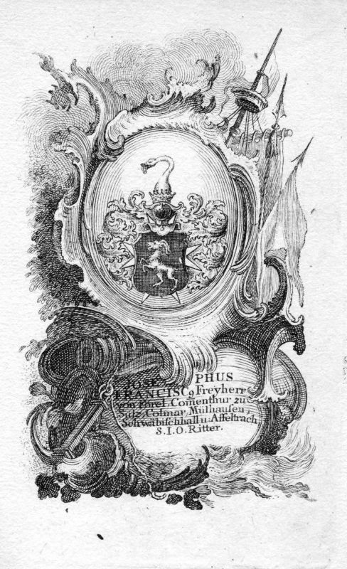 18. Jh. Forel Forell Mühlhausen Wappen coat of arms Kupferstich antique print
