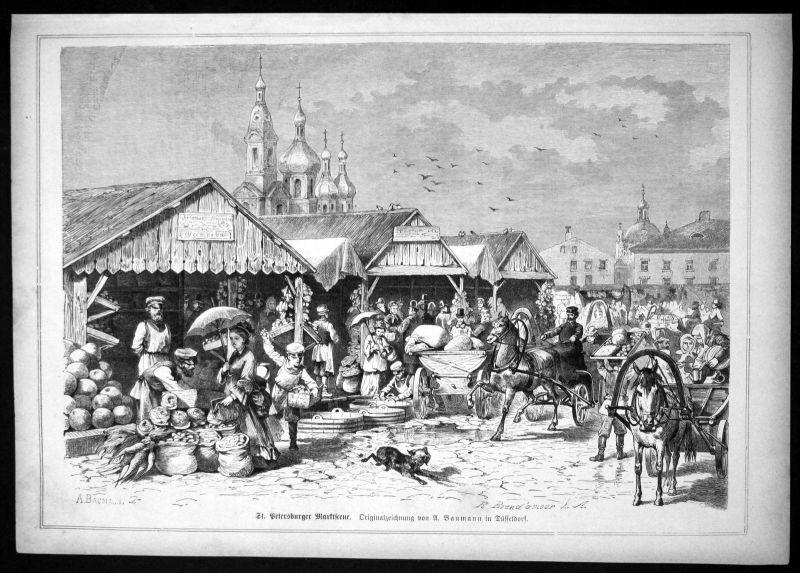 Ca. 1870 St. Petersburg Marktplatz Russia Ansicht Holzstich antique print
