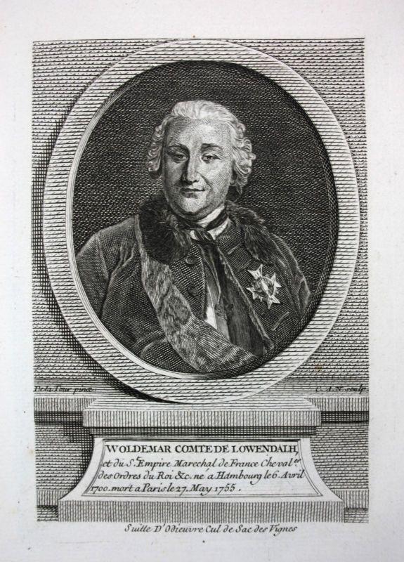 18. Jh. Ulrich Friedrich Woldemar Graf Löwendal Feldherr Kupferstich Portrait