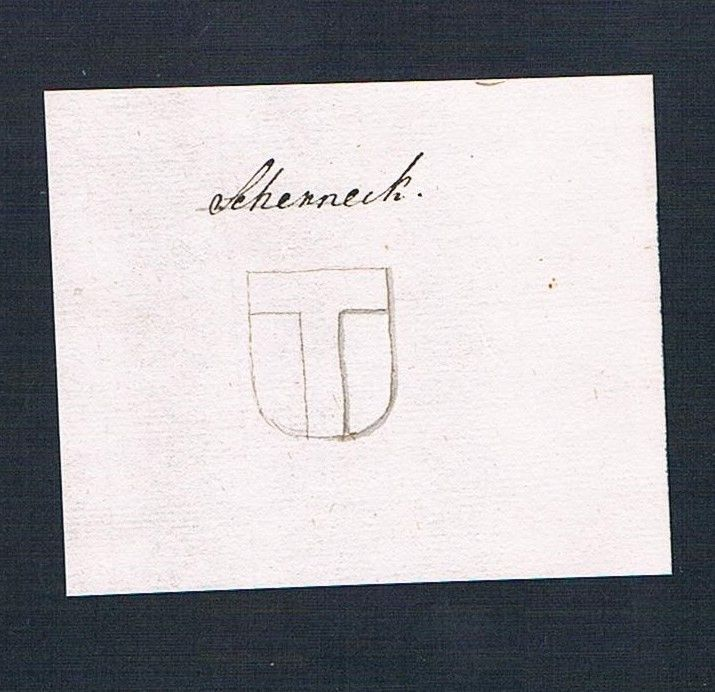 18. Jh. Scherneck Adel Handschrift Manuskript Wappen manuscript coat of arms