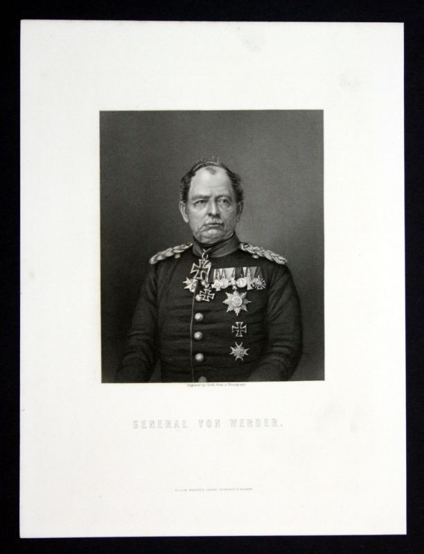 Ca. 1850 August von Werder General Portrait Stahlstich antique print Cook