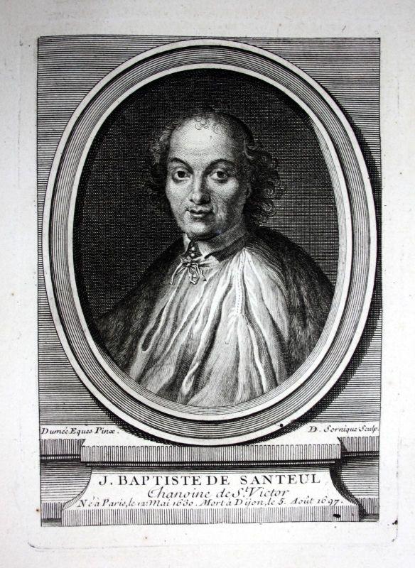 18. Jh Jean de Santeul poete gravure Kupferstich Portrait engraving poet Dichter