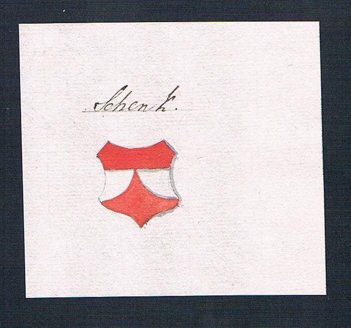 18. Jh. Schenk Adel Handschrift Manuskript Wappen manuscript coat of arms