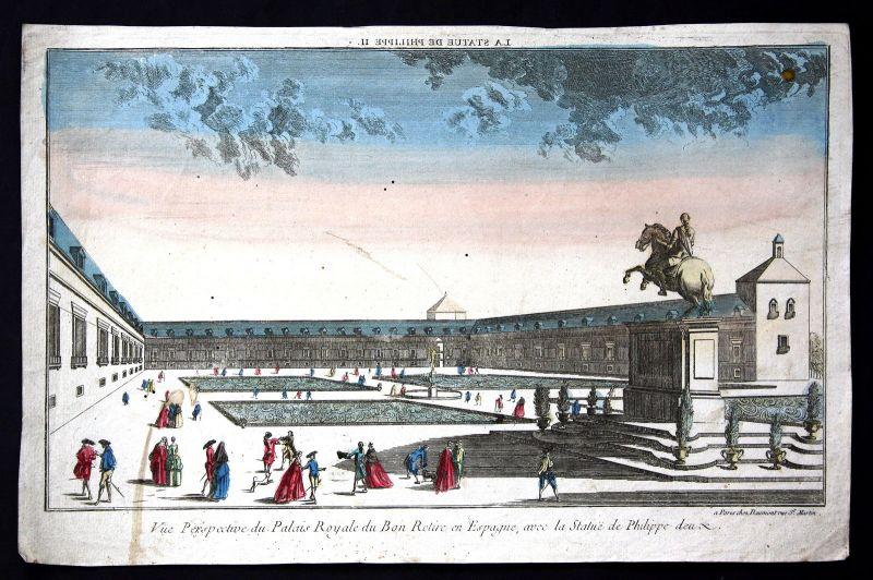 18. Jh Buen Retiro Madrid vista Espana Guckkastenblatt Kupferstich antique print