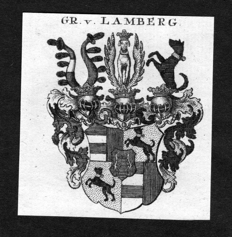 1820 - Lamberg Wappen Adel coat of arms heraldry Heraldik Kupferstich 125438