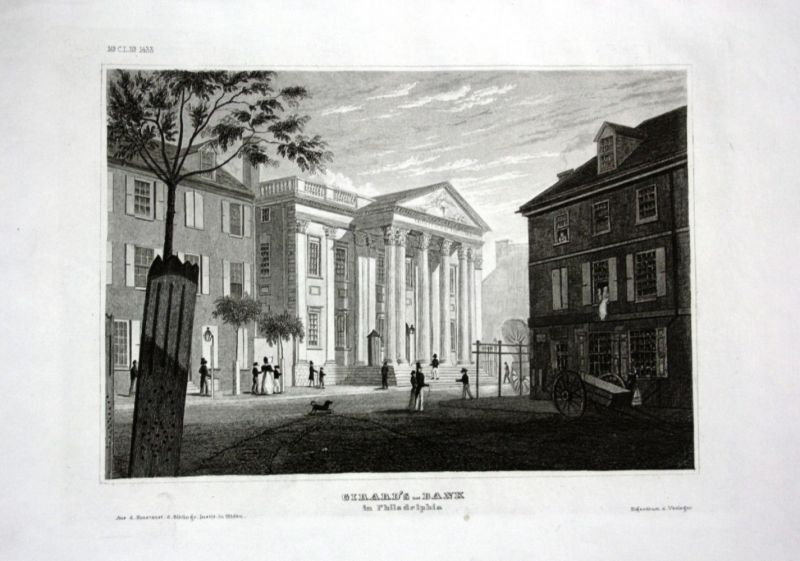 Ca. 1840 Girard Bank Philadelphia Amerika America Stahlstich engraving