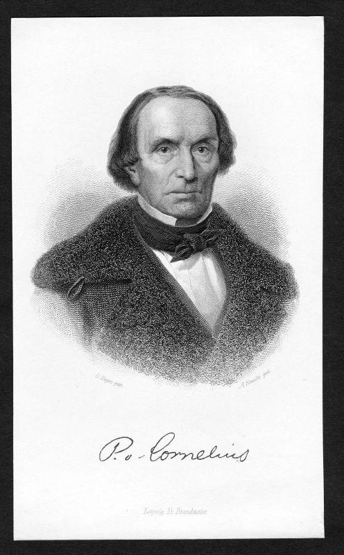 Ca. 1850 Peter von Cornelius Maler painter Portrait Stahlstich antique print