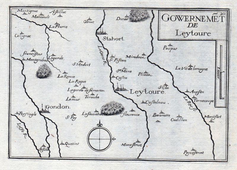 1630 Leytoure Gers Okzitanien France gravure estampe Kupferstich Tassin