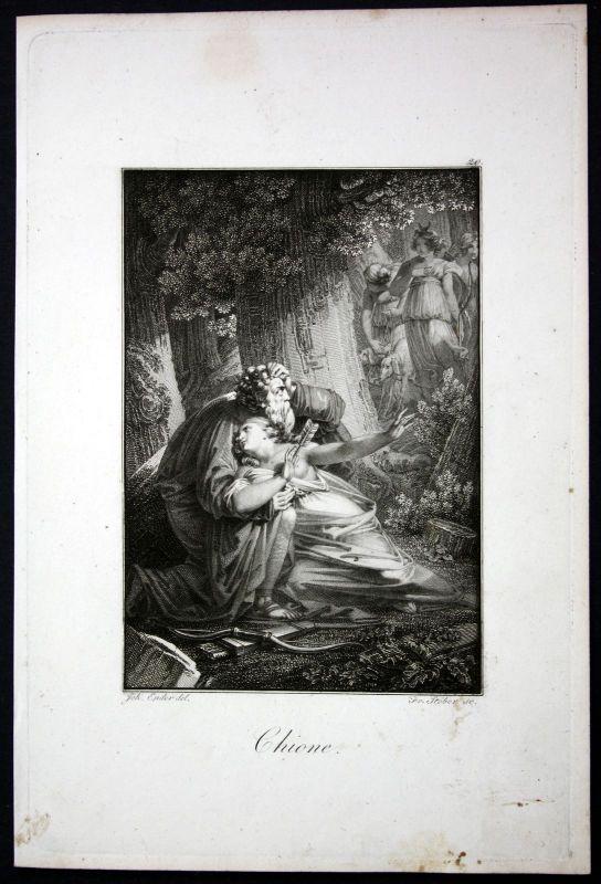 1840 - Chione Mythologie mythology Griechenland Stahlstich engraving