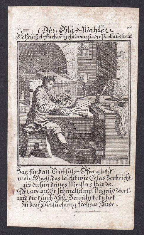 1700 Glasmaler Glas Maler Malerei Glasmalerei Kupferstich Beruf antique print