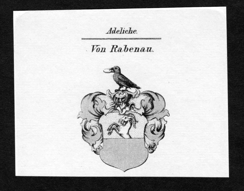 Ca. 1820 Rabenau Wappen Adel coat of arms Kupferstich antique print heral 136710