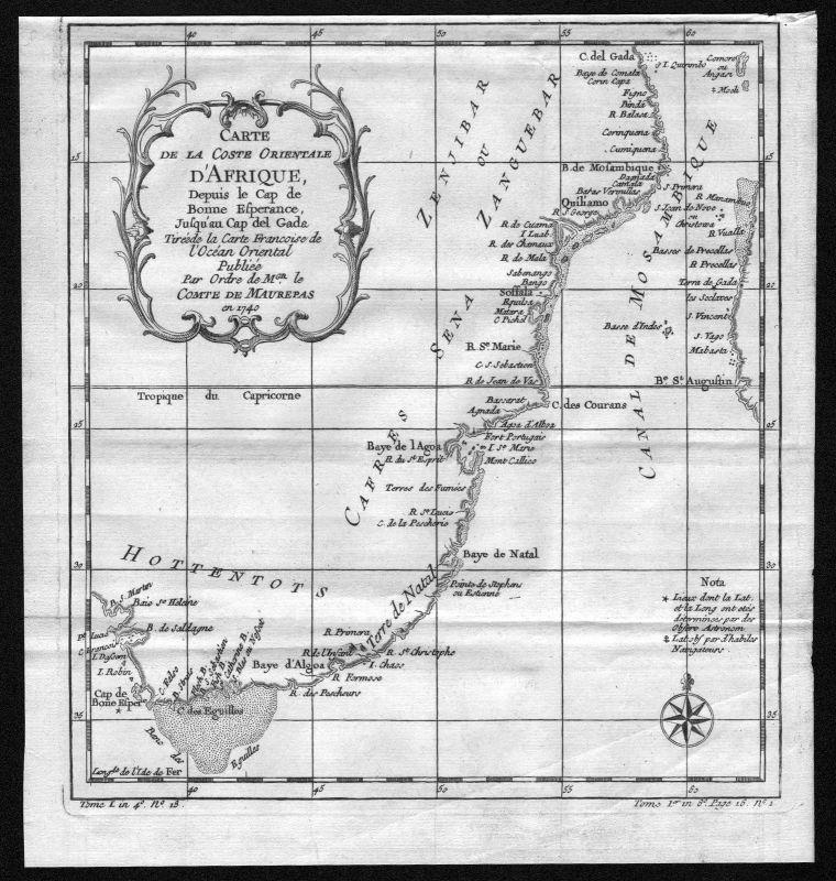 1740 Natal Cape of Good Hope Africa map Karte Kupferstich engraving Bellin