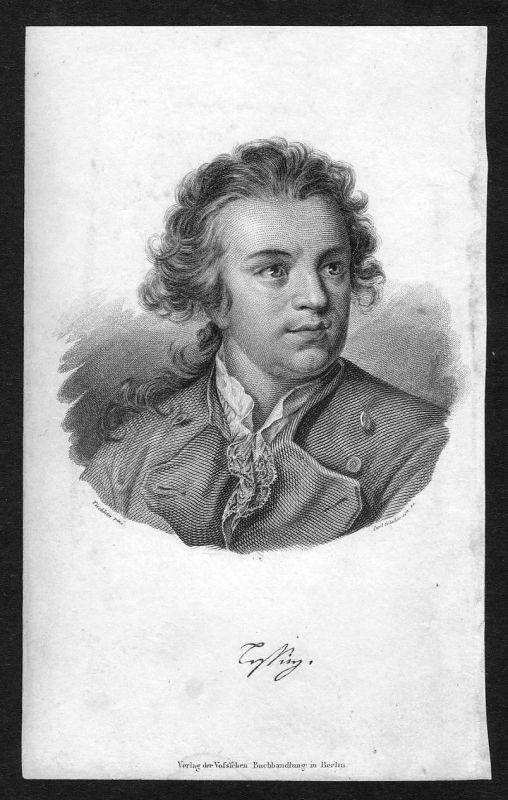 19. Jh. Gotthold Ephraim Lessing Dichter Portrait Stahlstich antique print