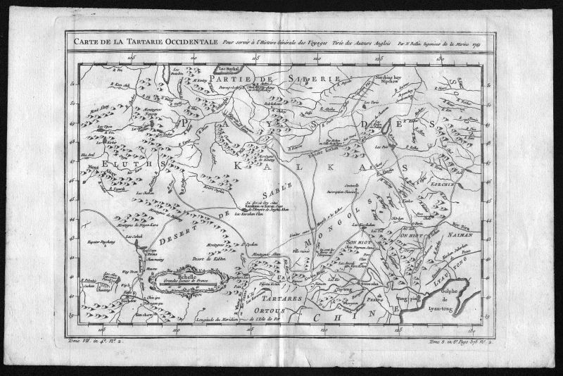 Ca. 1749 Mogolia Russia Russland Siberia map Karte Kupferstich engraving Belin