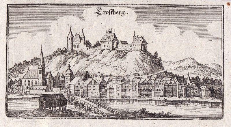 Ca. 1650 Trostberg Alz Traunstein Ansicht view Kupferstich antique print Merian