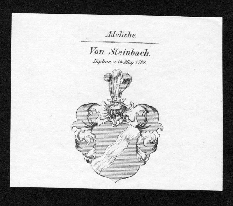 Ca. 1820 Steinbach Wappen Adel coat of arms Kupferstich antique print her 136756