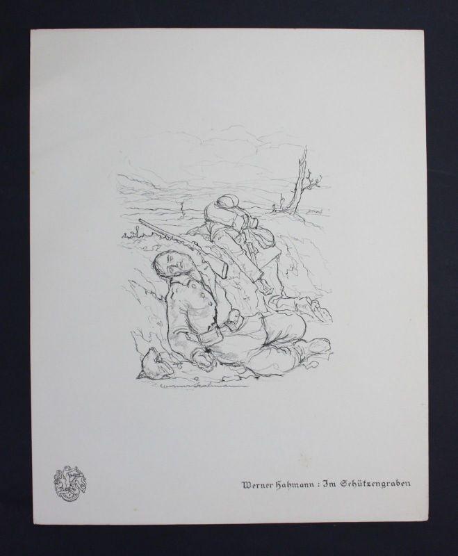 Werner Hahmann Schützengraben Weltkrieg Krieg Lithographie Berliner Secession