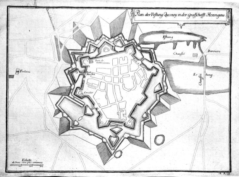 1650 Le Quesnoy chateau Karte map carte gravure Kupferstich antique print Merian
